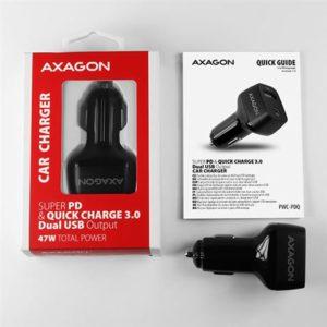 AXAGON PWC-PDQ car charger 1x QC3.0 + 1x PD USB-C